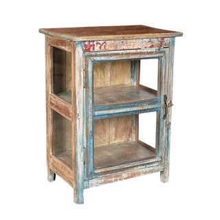 Rustic Vintage Glass Display Cabinet