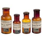Image of Vintage French Amber Apothecary Bottles - Set of 4