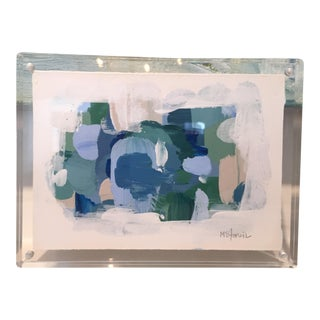 """Lucite Framed """"Summertime"""" Acrylic Painting"""