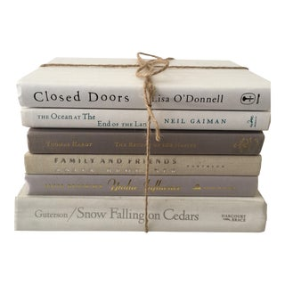 Contemporary Style White Cloth Books - Set of 6