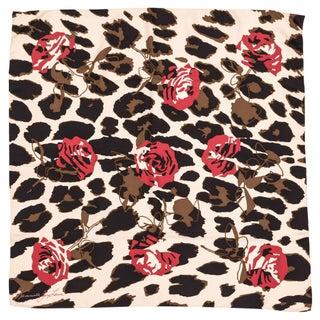 Kenneth Jay Lane Leopard Rose Silk Scarf