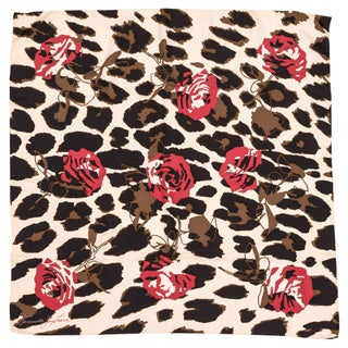 Kenneth Jay Lane Leopard Rose Silk Scarf