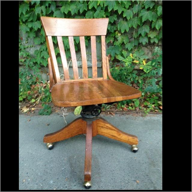 Antique Wood Office Swivel Chair - Image 2 of 9