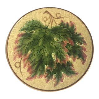 Yellow Majolica Leaf Plate
