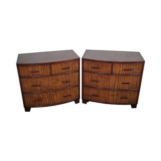 Ethan Allen Rattan Bow Front Mahogany Chest - Pair