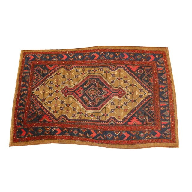 """Antique Persian Camel Rug - 4'4"""" x 6'4"""" - Image 1 of 4"""
