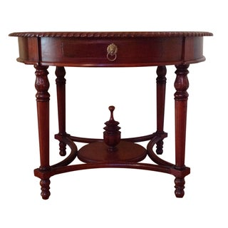 Single Drawer Round Mahogany Table