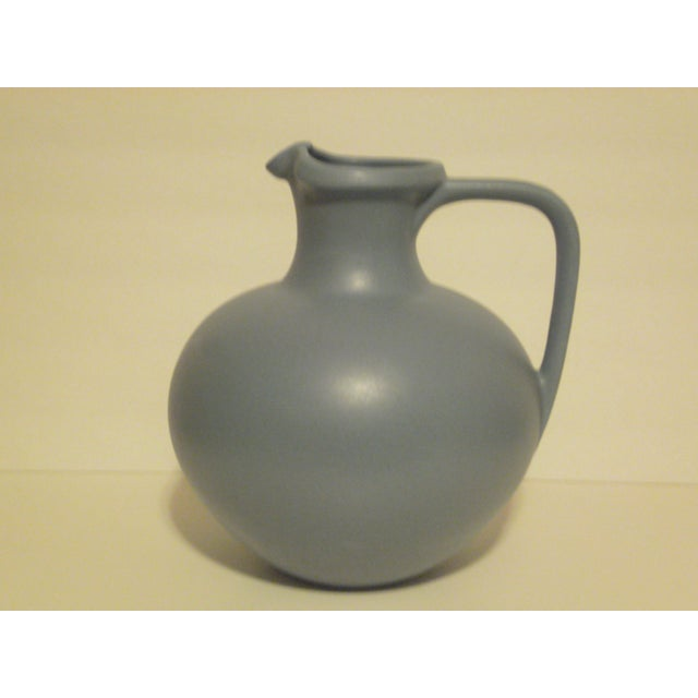 Large Art Pottery Blue Pitcher - Image 2 of 6