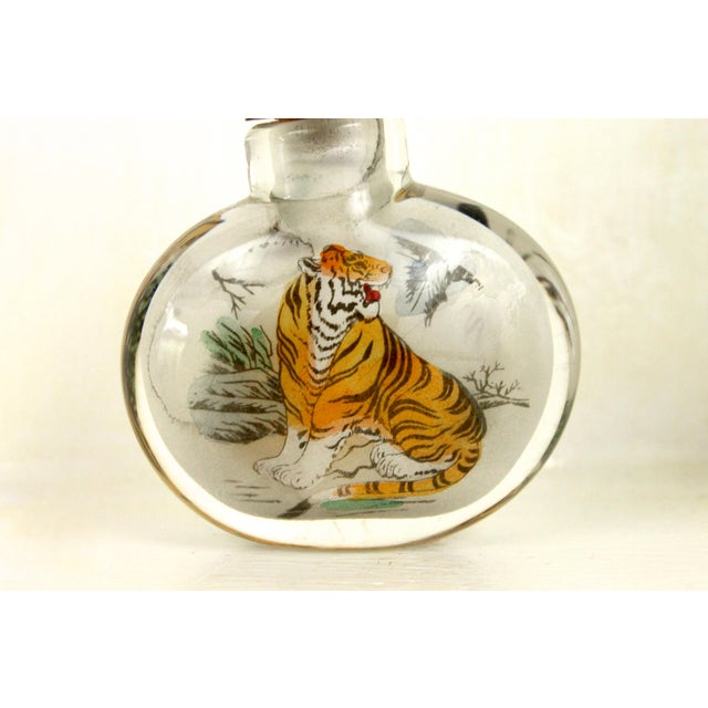 Asian Art Glass Painted Bottle - Image 4 of 6