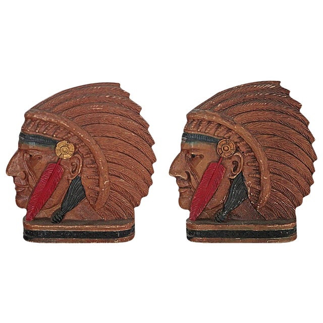 Image of Vintage Native American Chief Bookends