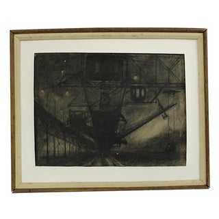 Framed Charcoal Painting by H. Turner Brooky