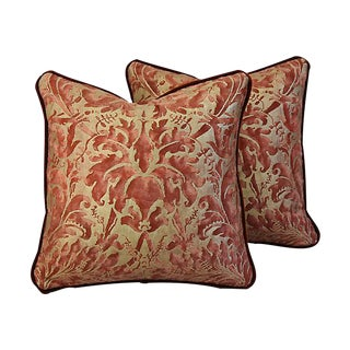 Custom Tailored Fortuny Lucrezia & Mohair Feather/Down Pillows - Pair