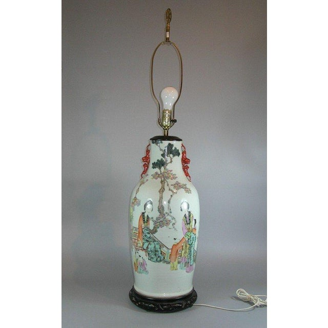 Antique Chinese Famille-Rose Glazed Table Lamp - Image 11 of 11