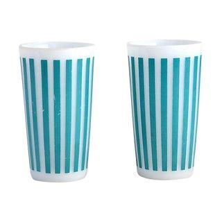 Striped Milk Glass Tumblers - A Pair