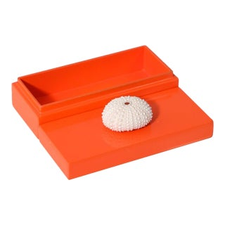 Small Orange Lacquer Box With White Urchin