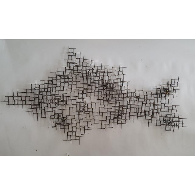 Abstract Fish Wall Sculpture Welded Nails & Bronze - Image 2 of 7