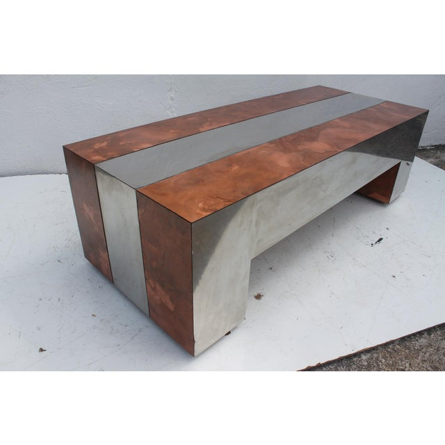 Paul Evans Style Chrome Copper Rectangular Coffee Table