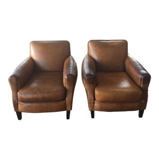 Vintage Leather Parisian Style Club Chairs - A Pair