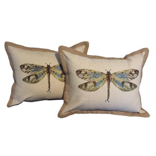 Dragonfly Embroidered Pillows - a Pair