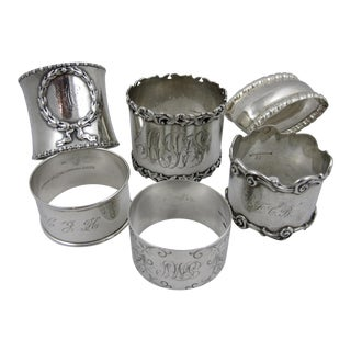 Antique Sterling Silver Napkin Rings - S/6