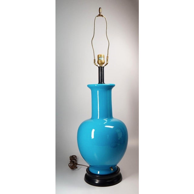 Vintage Turquoise Asian Ceramic Lamp - Image 5 of 5