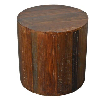Reclaimed Wood Round Side Table
