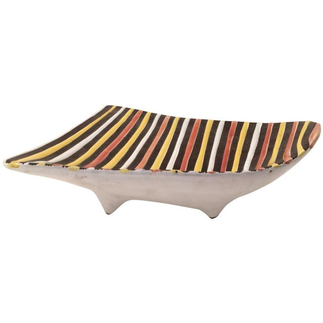 Vintage Italian Striped Ceramic Footed Dish - Image 1 of 7