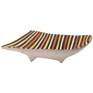Vintage Italian Striped Ceramic Footed Dish