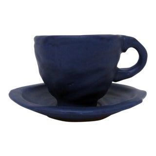 Luna Garcia Matte Blue Pottery Cup & Saucer