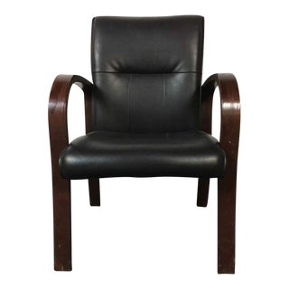Contemporary Bent Mahogany and Leather Armchair