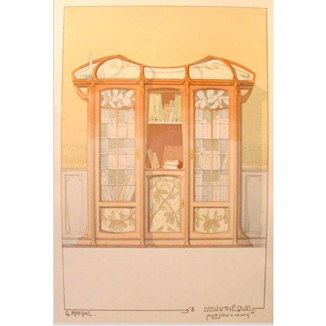 Vintage French Decorator Sheet Interior/Bookcase - Image 2 of 3
