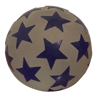 Art Glass Sphere Paperweight With Blue Stars