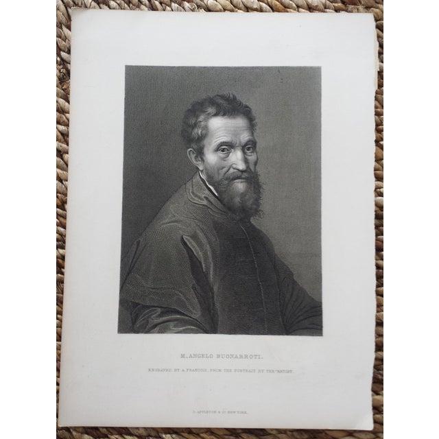 Antique 1875 Michelangelo Self Portrait Engraving - Image 2 of 4