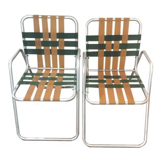 Vintage Aluminum Webbed Chairs - A Pair