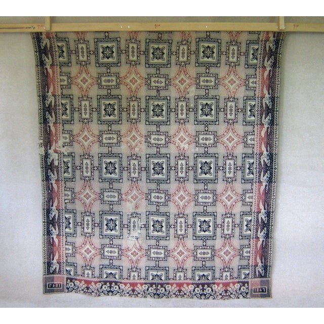 1840s Indigo & Rose Double Woven Blanket - Image 4 of 5