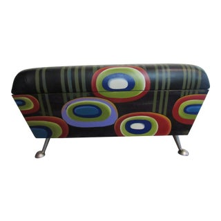 Anna Millea Hand Painted Leather & Wood Bench