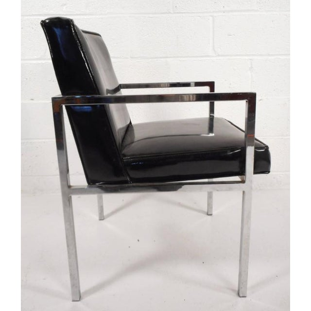 Mid-Century Modern Vinyl and Chrome Dining Chairs - Set of 4 - Image 3 of 8