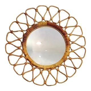 Vintage Rattan Wall Mirror Franco Albini Style Bent Bamboo Sculptural Mirror