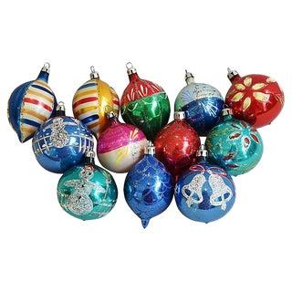 1960s Christmas Tree Ornaments w/Box - Set of 12