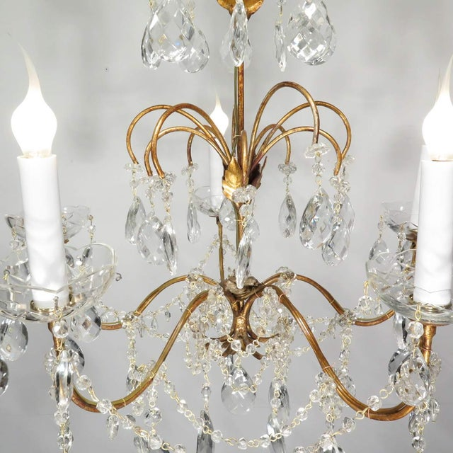 Vintage Chandelier Gold Fixture Dripping Crystals - Image 5 of 6