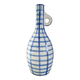 Blue & White Plaid Ceramic Vase