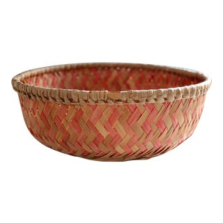 Red & Natural Basket Bowl
