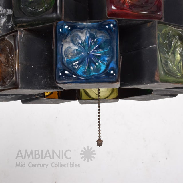 Feders Pendant Ceiling Fixture Handblown Glass and Steel Brutalist Chandelier - Image 3 of 8