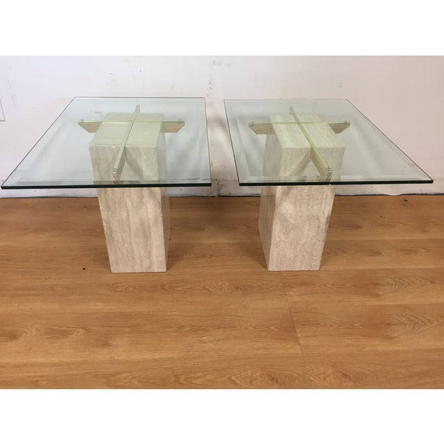Travertine Brass and Glass End Tables - A Pair - Image 2 of 9