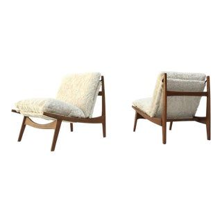 Stunning Organic Form '790' Lounge Chairs by J.A Motte for Steiner, France, 1960
