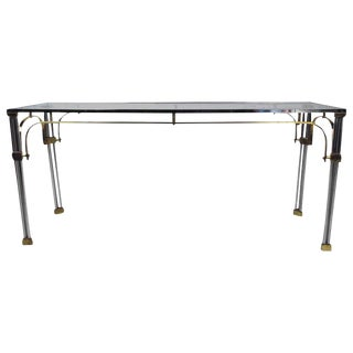 Mid-Century Modern Chrome & Brass Console Table