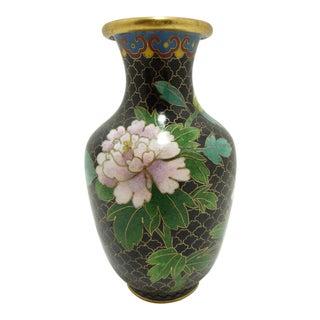 Vintage Black Cloisonne Chrysanthemum Vase