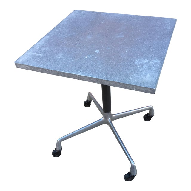 Steel Side Table on Wheels - Image 1 of 6