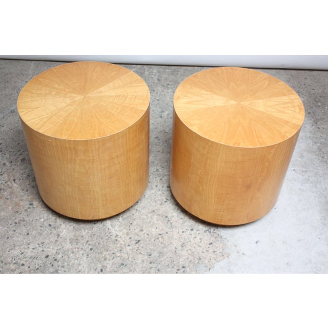 Pair of Large Bookmatched Bird's-Eye Maple Drum Tables - Image 2 of 7