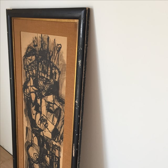 Vintage Mid-Century Original Ink Abstract in Frame - Image 8 of 8